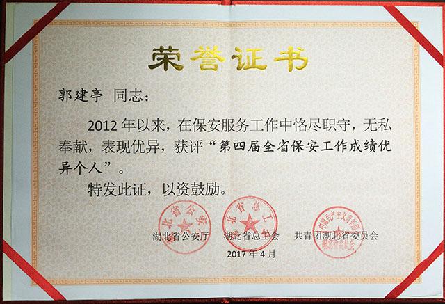 第四届全省亚博体育网址工作成绩优异个人